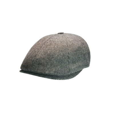 Herringbone eight panel bombé cap, anthracite grey