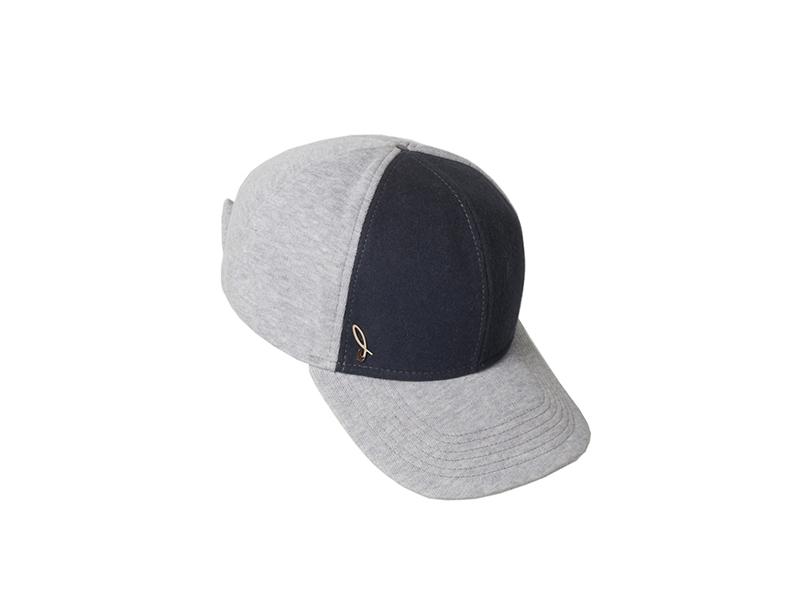 Cotton and felt baseball cap, grey ash