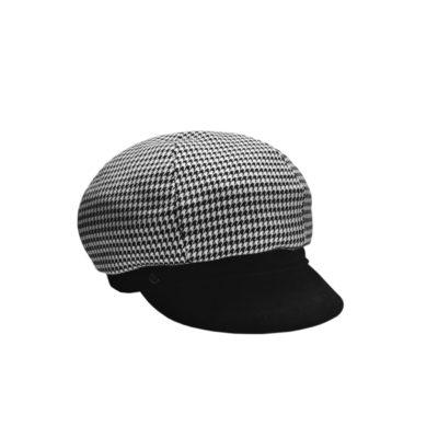 Bereton con visiera in velluto, bianco nero