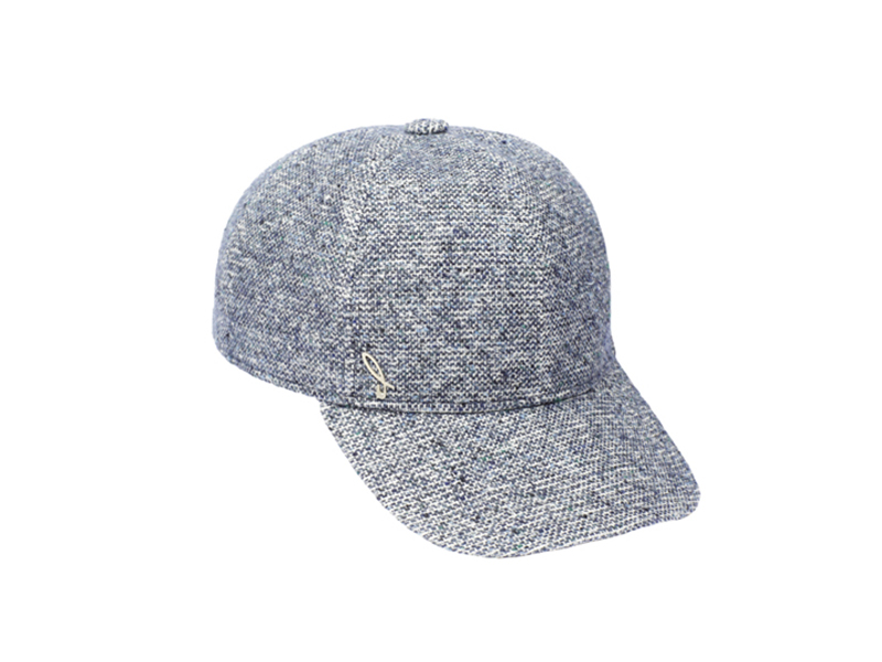 Boutonée fabric baseball cap, blue denim