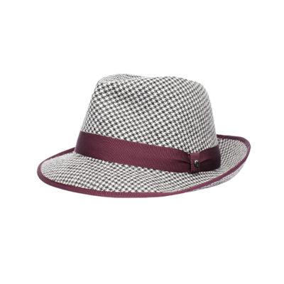 Pied-de-Poule fabric hat white black wine