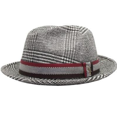 cappello in tessuto Pricipe-di-Galles , cinta righe bianco nero vino
