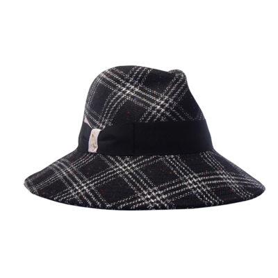 Cappello in tessuto scozzese, fiocco Doria nero bianco rosa