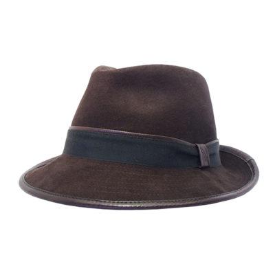 cappello in fustagno e pelle cioccolato verdone
