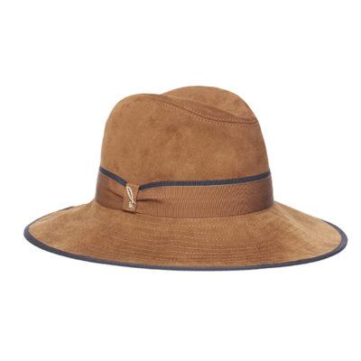 cappello in pelle scamosciata cognac marine