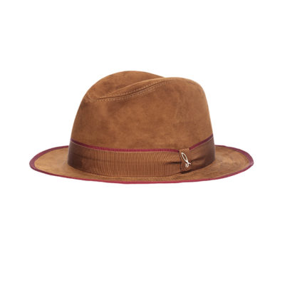 cappello in pelle scamosciata cognac melograno
