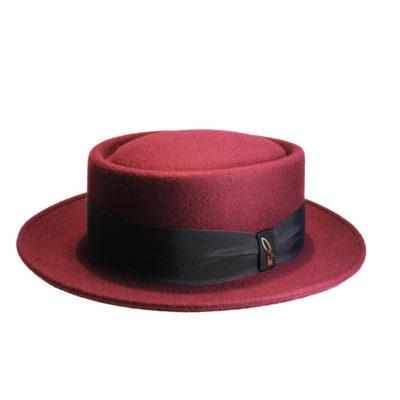 cappello pork pie cinta righe bordeaux blu verde