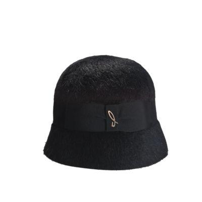 Melousine fur felt cloche, black