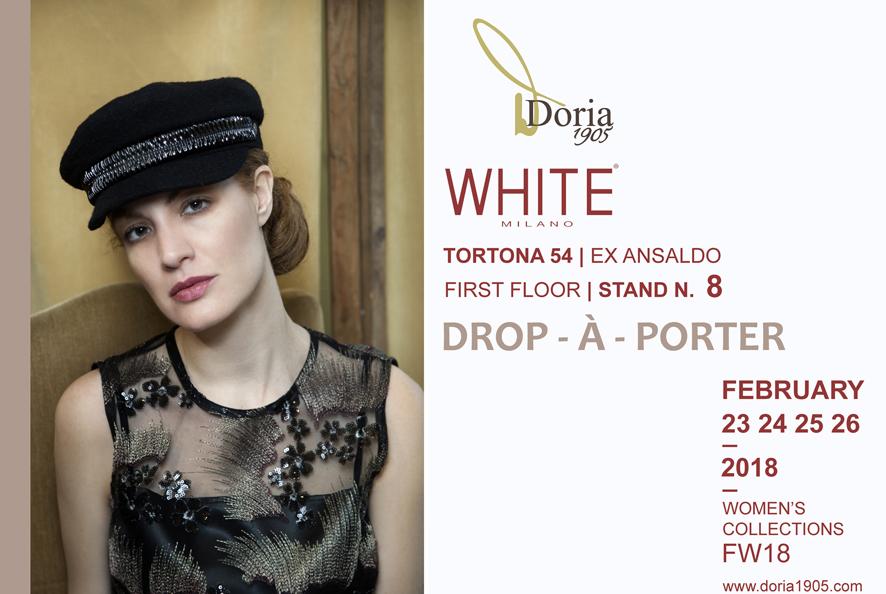 La nuova collezione Donna  AI18 di DORIA1905 a: WHITE Milano – FEBBRAIO 23 24 25 26 – TORTONA 54