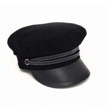Cappello da Marinaio in tessuto ed ecopelle nero