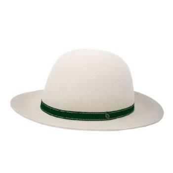 Cappello in feltro arrotolabile e cinta gros grain grigio perla