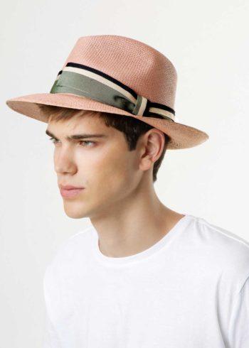 Caleb Panama Hat Brown Multicolor for Man