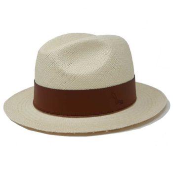 Hatton Fedora Cappello Panama Quito Bianco Cuoio Doria 1905