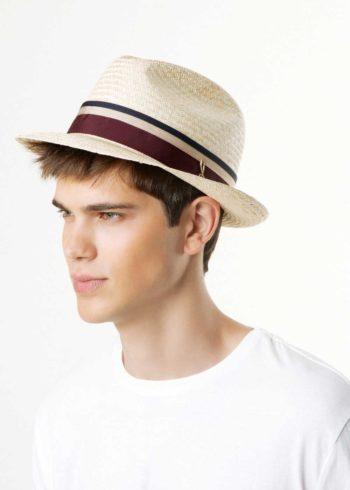 Sam Fedora Cappello Panama Naturale Chianti indossato